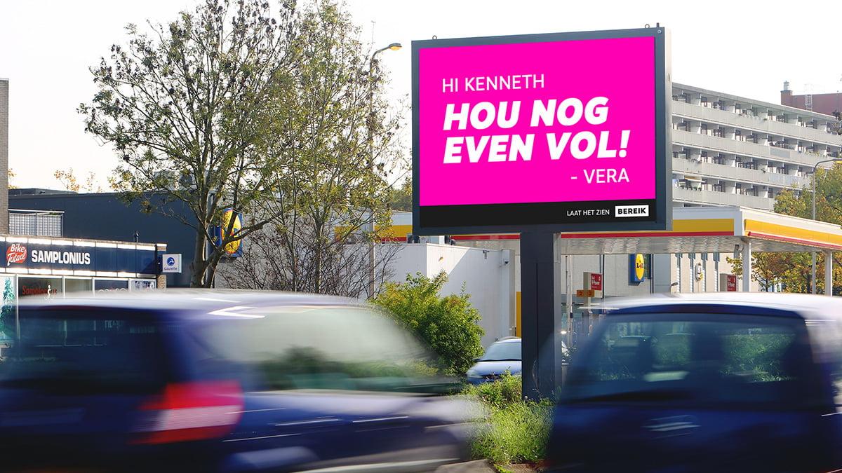 Toon een liefdevolle boodschap op de digitale billboards van Bereik