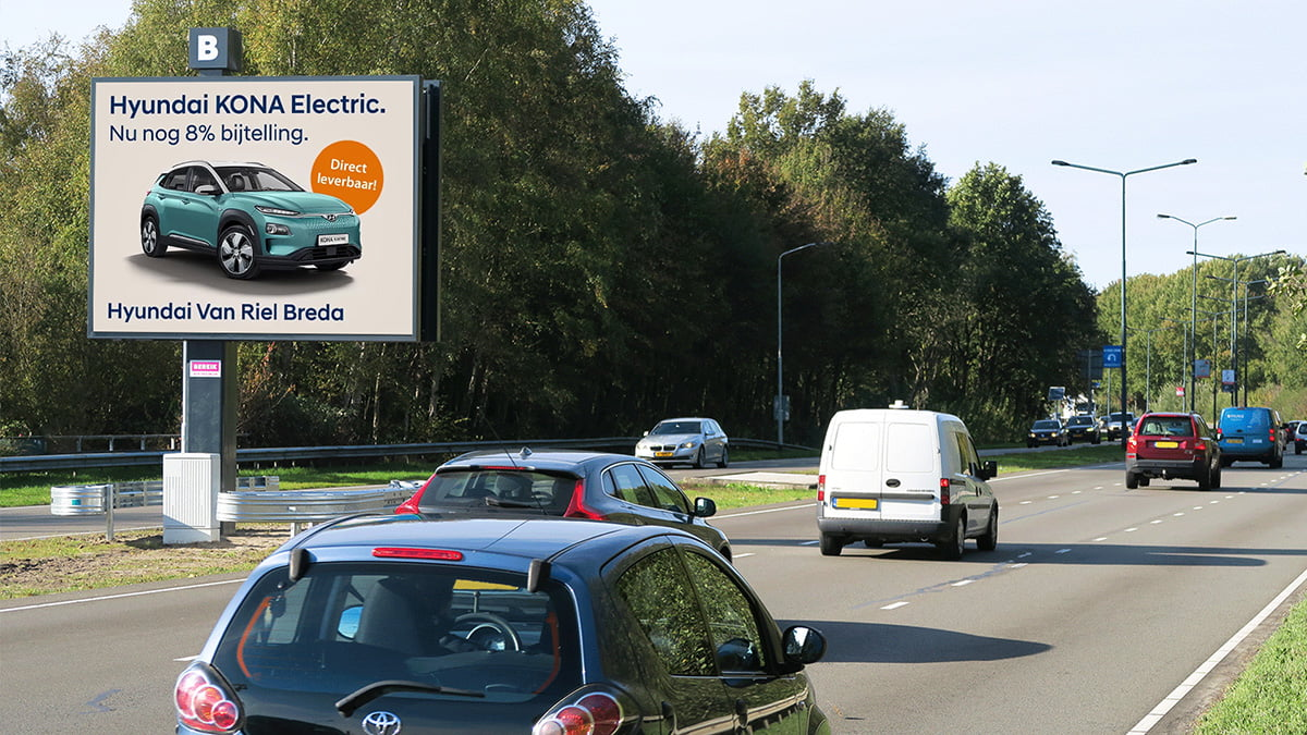 Hyundai dealer Breda adverteert op digitale billboards Bereik